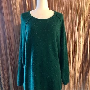 Teal Speckled Cotton Blend Sweater Size XL